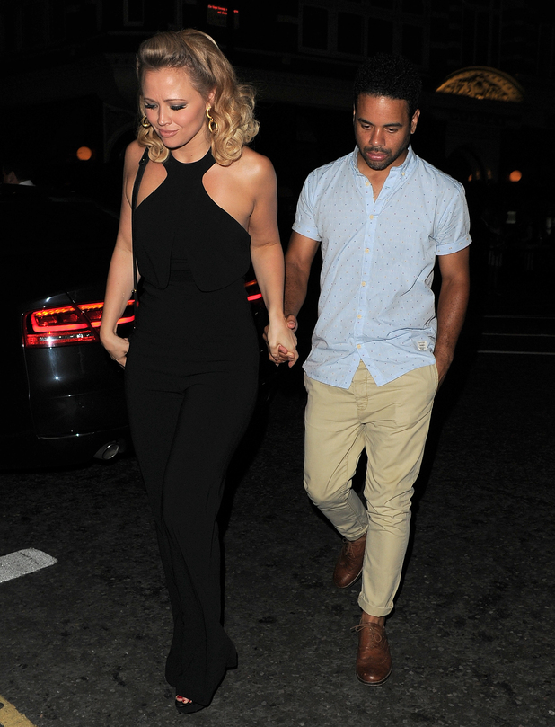 Kimberley Walsh and fiance Justin Scott after her final performance in Sweet Charity, Cadogan Hall, London 24 August
