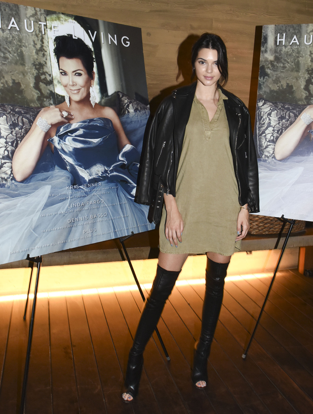 Kendall Jenner at the Haute Living cover party with Kris Jenner, 26th August 2015