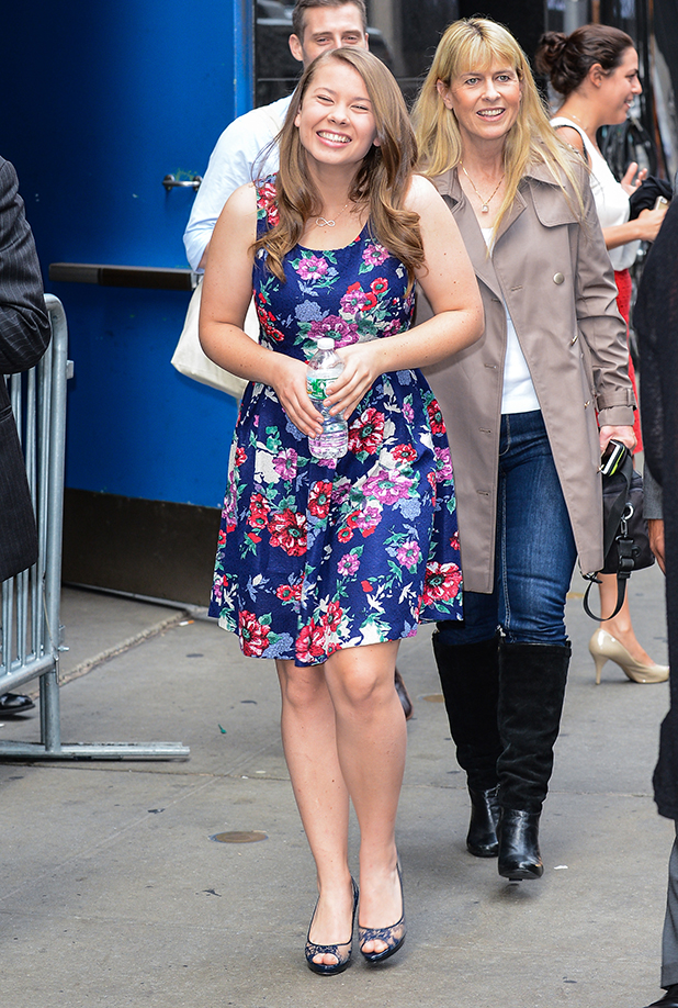 Actress and 'Dancing With The Stars' contestant Bindi Irwin leaves the 'Today Show' taping at the NBC Rockefeller Center Studios on August 24, 2015 in New York City. (Photo by Ray Tamarra/GC Images)