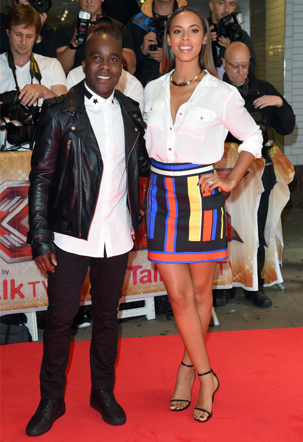 Melvin Odoom and Rochelle Humes attend the press launch of 'The X Factor' at the Picturehouse Central on August 26, 2015 in London, England. (Photo by Karwai Tang/WireImage)