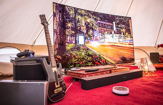 Virgin Media Supercharged Yurt at V Festival 2015 Guitar hero and flat screen TV
