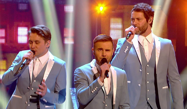 Take That perform a medley of their greatest hits on the second of two shows for Grand Final of 'Strictly Come Dancing'. Shown on BBC1 HD. 20/12/2014.