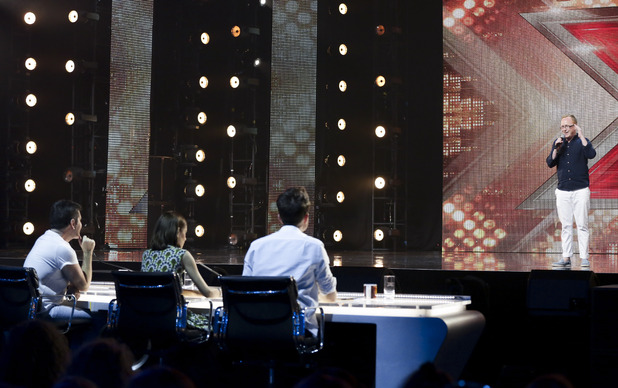 X Factor hopeful Joseph McCaul at arena auditions - Wembley. July 2015.