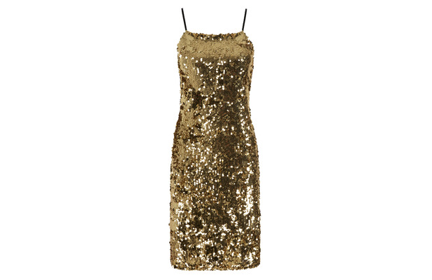 Stacey Solomon for Oli.co.uk gold sequinned dress £80, 2nd September 2015