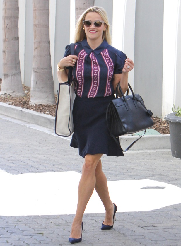 Reese Witherspoon leaving an office building in Beverly Hills, 28th August 2015