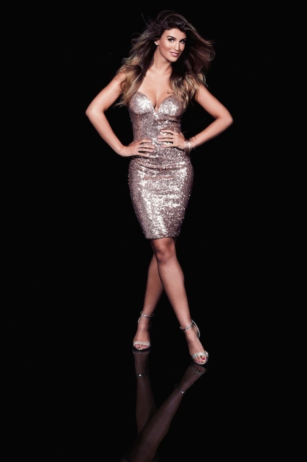 Amy Willerton posing in sequin bodycon dress for Lipstick Boutique's A/W15 Sistaglam collection, 1st September 2015