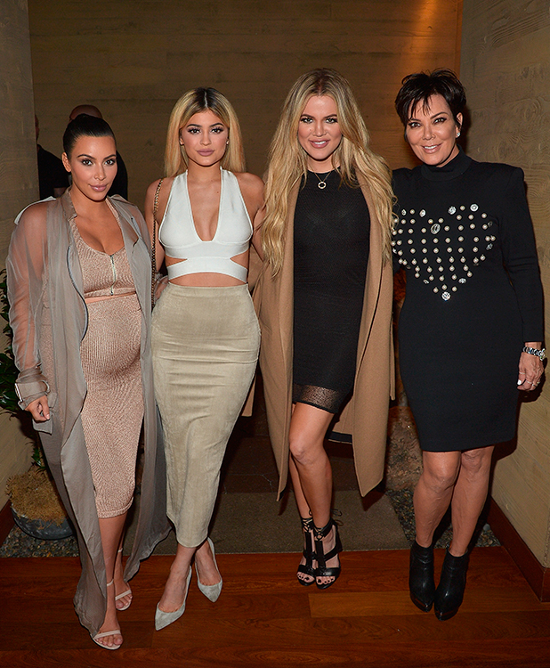 Kim Kardashian West, Kylie Jenner, Khloe Kardashian and Kris Jenner host a dinner and preview of their new apps launching soon at Nobu Malibu on September 1, 2015 in Malibu, California. (Photo by Charley Gallay/Getty Images for Kardashian/Jenner Apps)