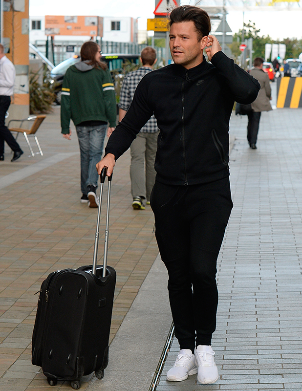 Mark Wright spotted at arriving at Media City Manchester to work at his CBBC Job after returning from his Ibiza holiday. 3 September 2015