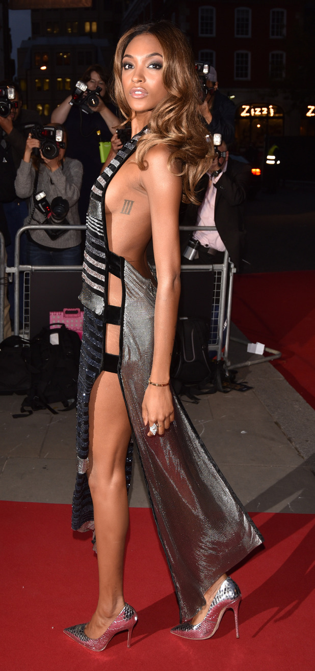 Jourdann Dunn side view of glittery dress at the GQ Men of The Year Awards, 9th September 2015