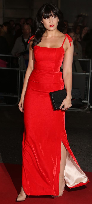 Daisy Lowe in red velvet dress at the GQ Men of The Year Awards in London, 9th September 2015