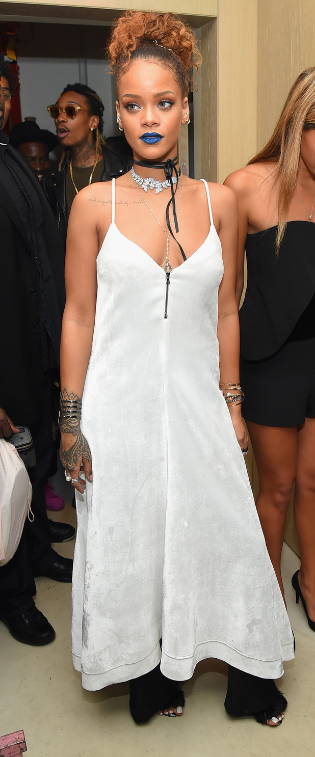 Rihanna hosts a New York Fashion Week Pre-party in New York wearing bold blue lipstick 11th September 2015