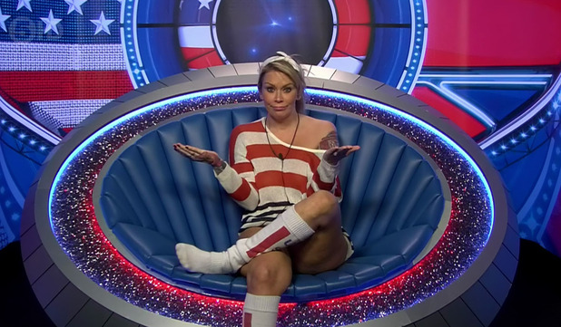 Jenna Jameson in the diary room on 'Celebrity Big Brother'. Broadcast on Channel 5 HD. 8 September 2015.