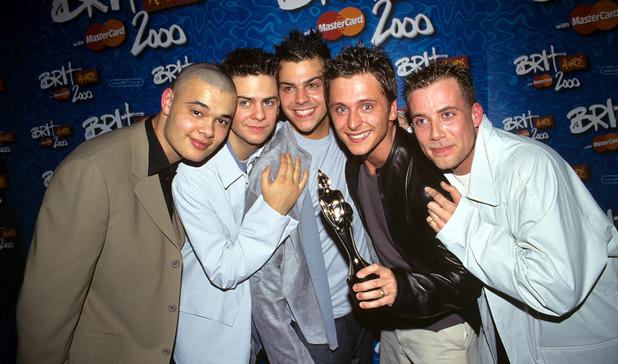 Five - 5ive: Sean Conlon, Scott Robinson, Richard 'Abs' Breen, Ritchie Neville, Jason 'J' Brown at the Brit Awards at Earls Court, London, Britain - 2000.