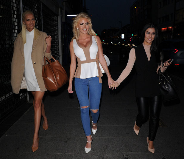 Love Island's Zoe Brown, Hannah Elizabeth, Cally Beech head to Chloes Beauty bar for chloe sims launch of her Vlog. 10 September 2015.