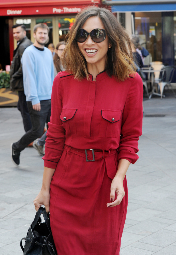 Myleene Klass out and about in London wearing military style dress, 10th September 2015