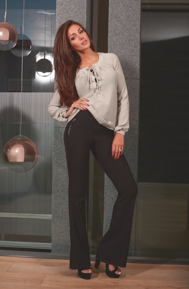 Michelle Keegan launches new winter collection, smart woven flares £42, 10th September 2015
