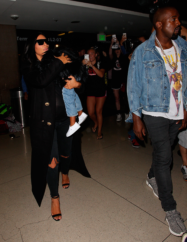 Kim Kardashian, Kanye West and North West are seen on September 05, 2015 in Los Angeles, California.
