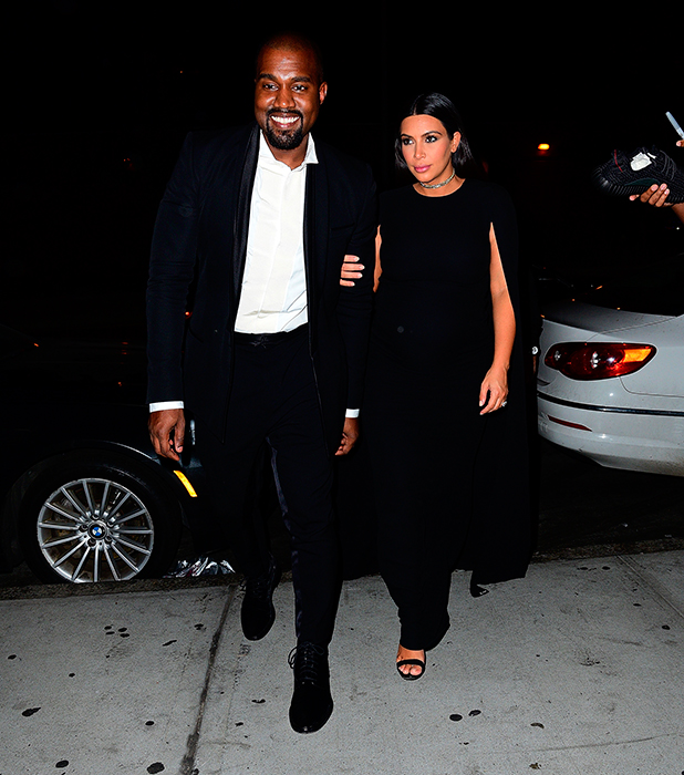 Kanye West and Kim Kardashian seen on the streets of Manhattan on September 7, 2015 in New York City. (Photo by James Devaney/GC Images)