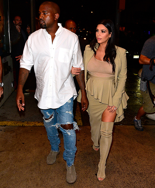 Kanye West and Kim Kardashian arrive to Bergdorf Goodman on September 10, 2015 in New York City. (Photo by James Devaney/GC Images)