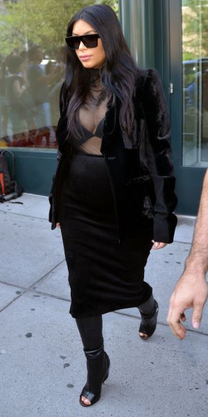 Kim Kardashian and Kanye West out in New York 8 September 2015
