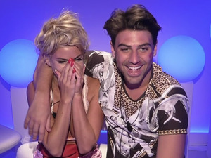 Love Island: Jon and Hannah receive a prize for winning task. Broadcast on ITV2 HD. July 2015.