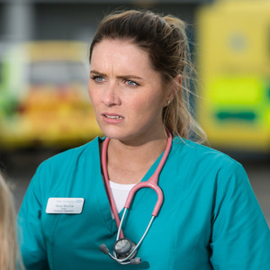 BBC One's Casualty - arrival of junior doctor Alicia Munroe. Transmission Date: 19/9/2015