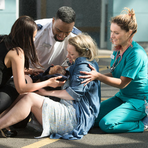 BBC One's Casualty - Dr Lily Chao, Jacob Masters, Ester, Alicia Munroe. Transmission Date: 19/9/2015