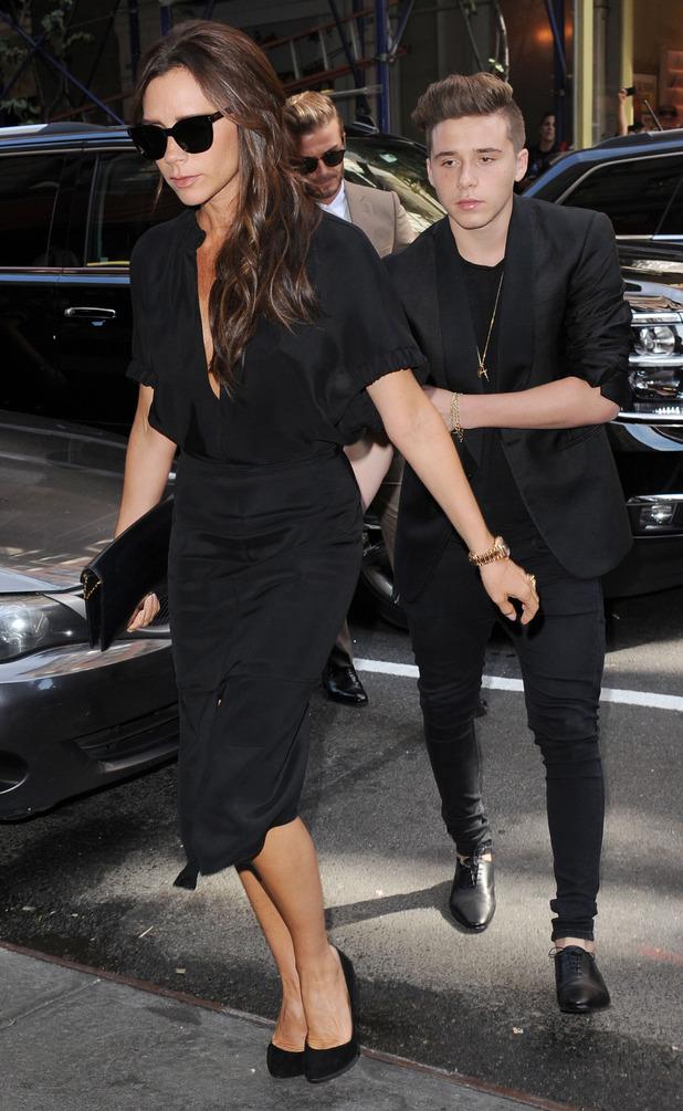Victoria Beckham and Brooklyn Beckham at New York Fashion Week, 14th September 2015