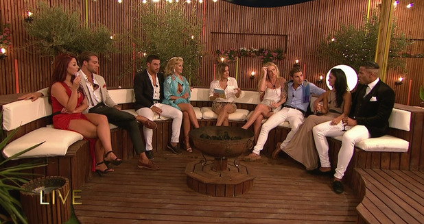 Caroline Flack with the Love Island couples. Broadcast on ITV2 HD. 15 July 2015.