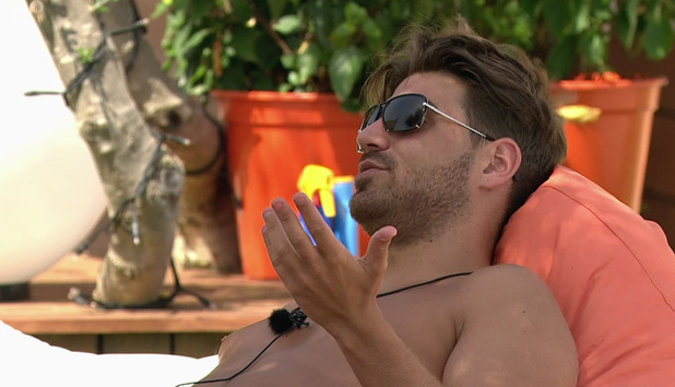 Jonathan Clark on Love Island. Broadcast on ITV2 HD. 7 July 2015.