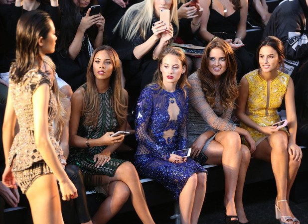 Rochelle Humes, Rosie Fortescue, Binky Felstead and Lucy Watson sit in the FROW of Julien Macdonald's catwalk show at London Fashion Week Spring/Summer 2016, 19 September 2015.