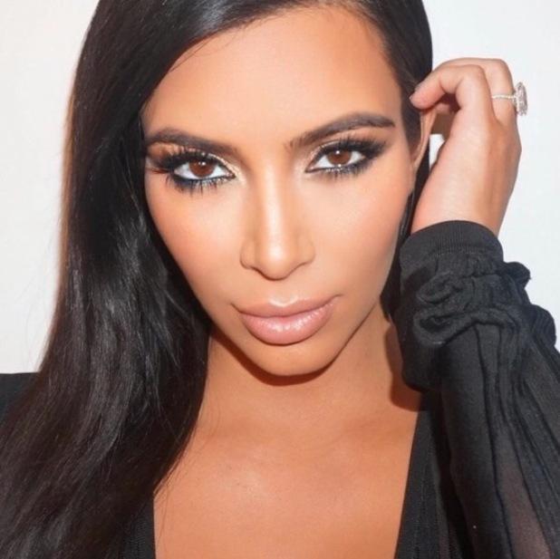 Kim Kardashian shares make-up selfie on Instagram to show strobing technique 17th September 2015