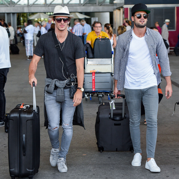 TOWIE stars Jake Hall and Dan Edgar arrive in Marbella for filming The Only Way Is Marbs, 20 September 2015