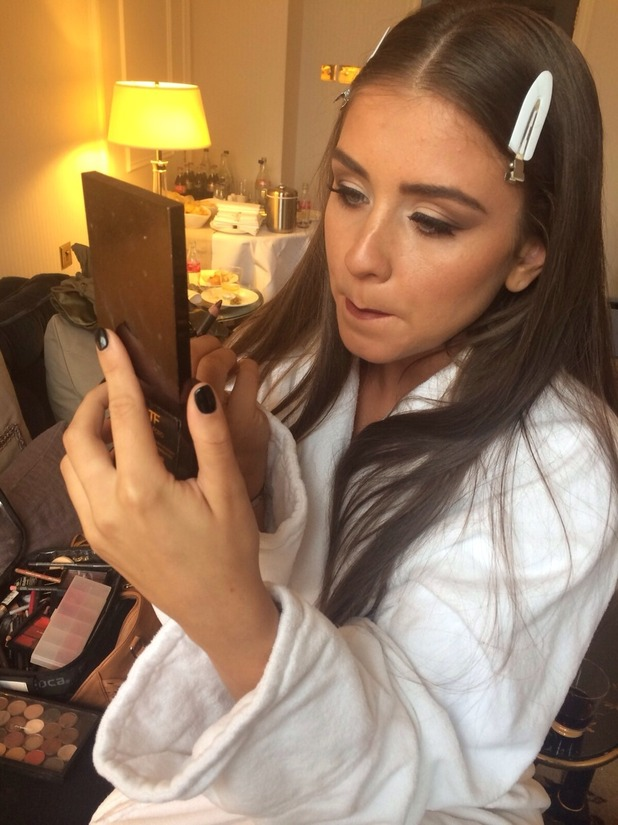 Brooke Vincent getting ready for the TV Choice Awards. Used for Brooke's blog. 14 September 2015.