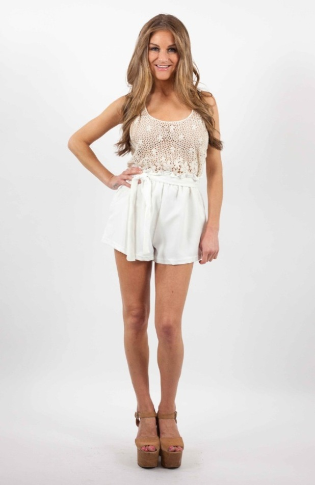 Nikki Grahame launches clothing collection with online brand JYY.London, shorts and top 14th September 2015