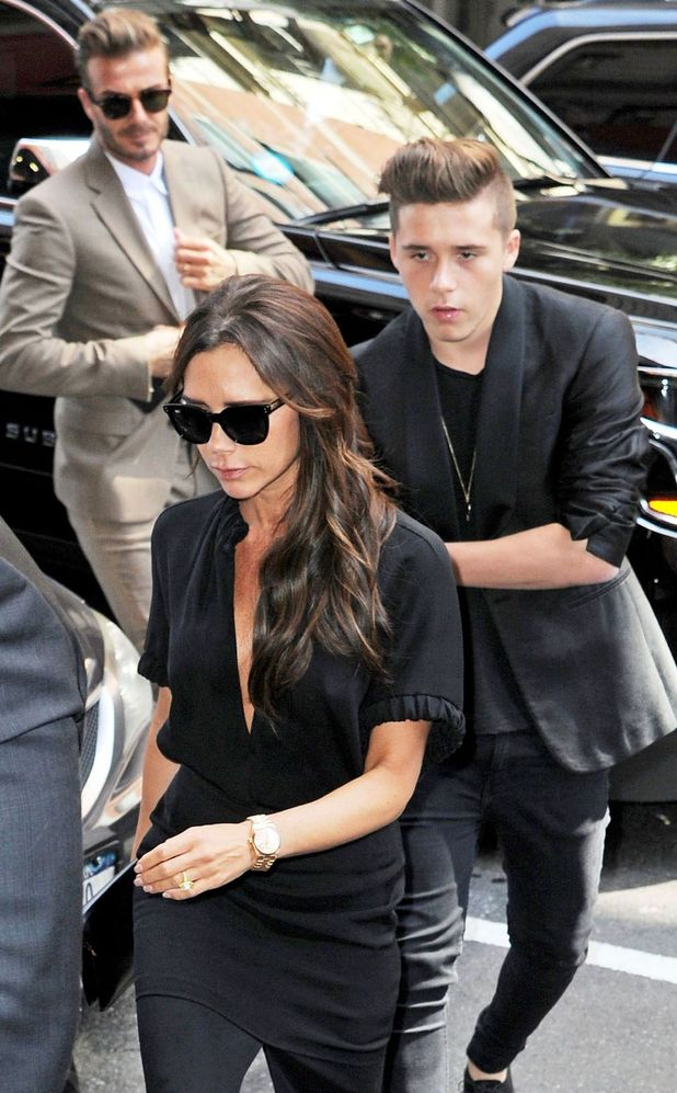 Victoria Beckham and Brooklyn Beckham at New York Fashion Week, 14th September 2014