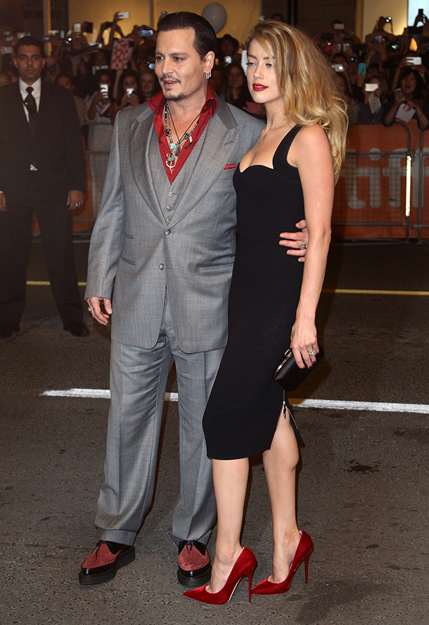 Amber Heard and Johnny Depp attend the 'Black Mass' premiere during the 2015 Toronto International Film Festival held at The Elgin on September 14, 2015 in Toronto, Canada. (Photo by Tommaso Boddi/WireImage)