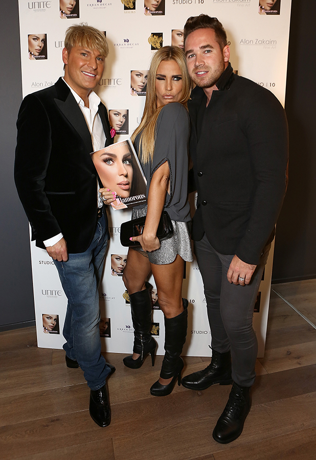 Katie Price and Kieran Hayler attend the launch of new book 'Simply Glamorous' by Gary Cockerill at Alon Zakaim Fine Art on September 16, 2015 in London, England. (Photo by David M. Benett/Dave Benett/Getty Images)