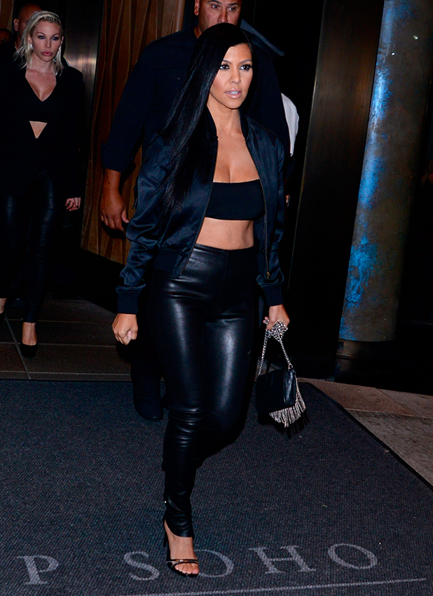 Kourtney Kardashian and sister, Khloe, leaving the Trump Soho New Hotel for a night out together