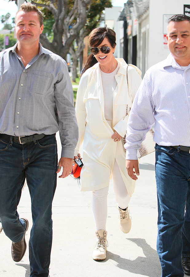 Kris Jenner seen shopping for Mattresses with a friend at Custom Comfort Mattresses. 14 Sep 2015