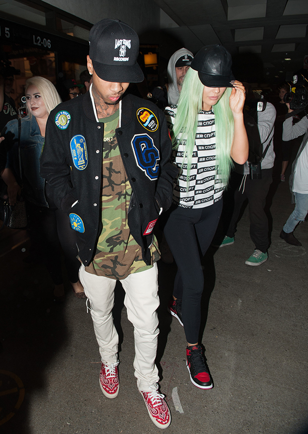 Tyga and Kylie Jenner are seen at LAX on September 16, 2015 in Los Angeles, California.