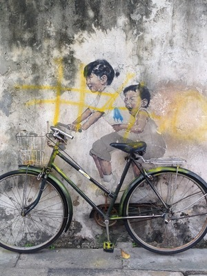 'Little children on a bicycle' by Ernest Zacharevic, George Town, Penang, Malaysia. 24/9/15