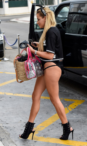 TOWIE's Georgia Kousoulou heads out from hotel for filming in Marbella - 21 September 2015.
