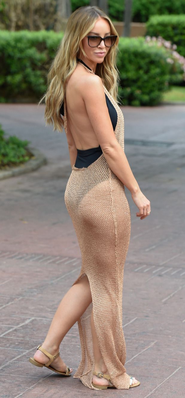 Lauren Pope flashes derriere in chainmail dress in Marbella, 21st September 2015
