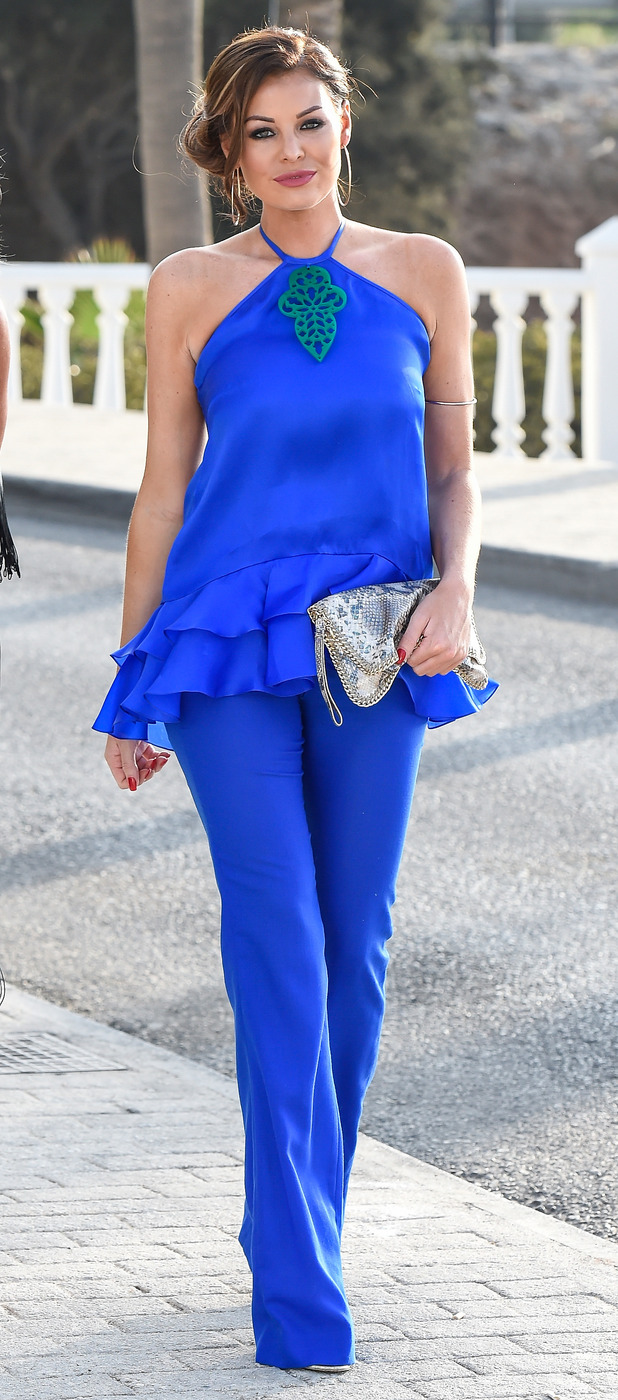 TOWIE's Jess Wright in Marbella wearing blue jumpsuit, 24th September 2015