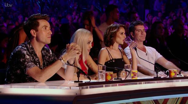 The X Factor judges - Nick Grimshaw, Rita Ora, Cheryl Fernandez-Versini, Simon Cowell - arena auditions. 6 September 2015.