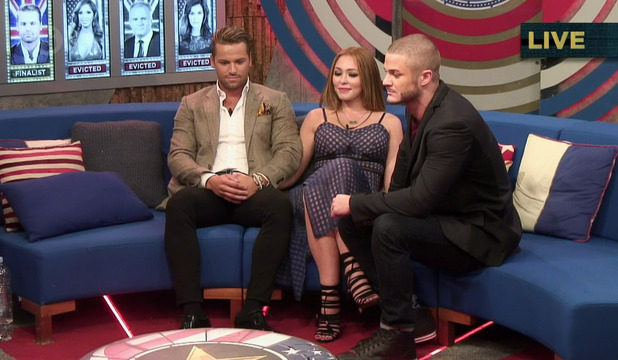 The final three - James Hill, Natasha Hamilton and Austin Armacost - during the live final of 'Celebrity Big Brother'. Broadcast on Channel 5 HD. 24 September 2015.