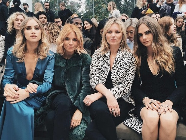 Kate Moss, Cara Delevingne, Sienna Miller, attend the Burberry show London Fashion Week 2015, 21st September 2015