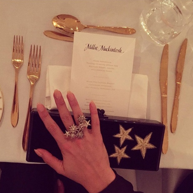 Millie Mackintosh shares a detail snap from the William Vintage dinner, 21st September 2015
