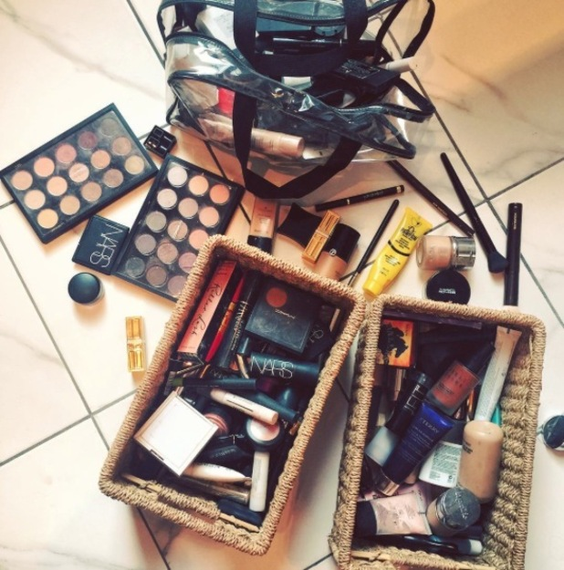 MIC's Louise Thompson shares picture of beauty essentials on Instagram 21st September 2015